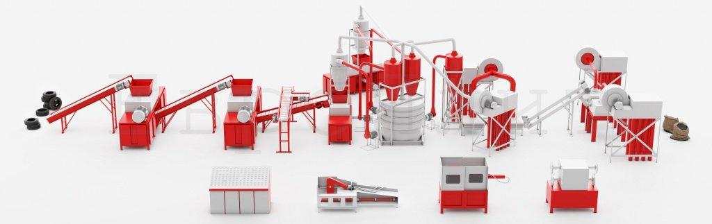Производительное оборудование для изготовления резиновой крошки из шин